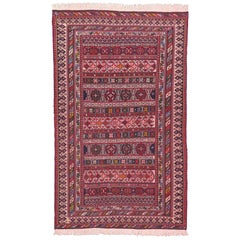 Vintage Pink Persian Soumak Rug with Tribal Style