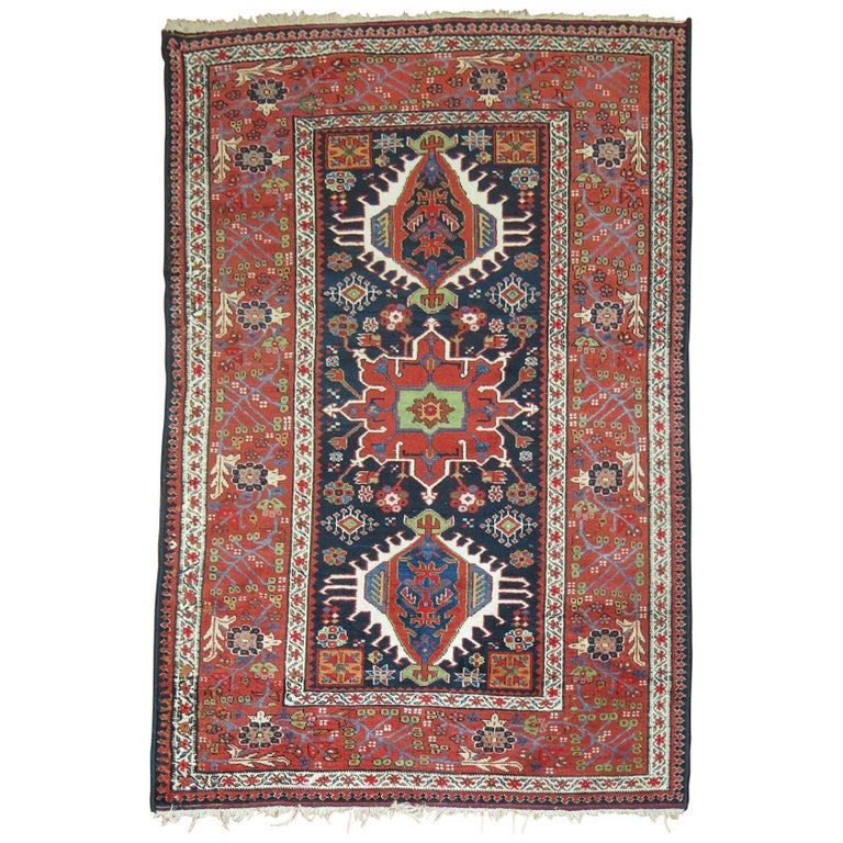 Antique Persian Heriz Karadja Rug