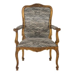 19th Century French Louis XV Style Giltwood Fauteuil