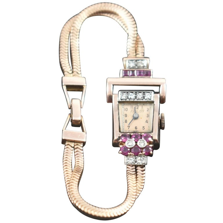 Vintage 14-Karat Ladies Rose Gold Diamond and Ruby Wristwatch, circa 1940s