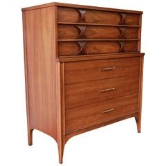 Kent Coffey Perspecta Sculpted Walnut and Rosewood Highboy Dresser