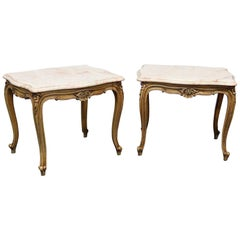 Pair of French Provincial Style Marble-Top End Tables
