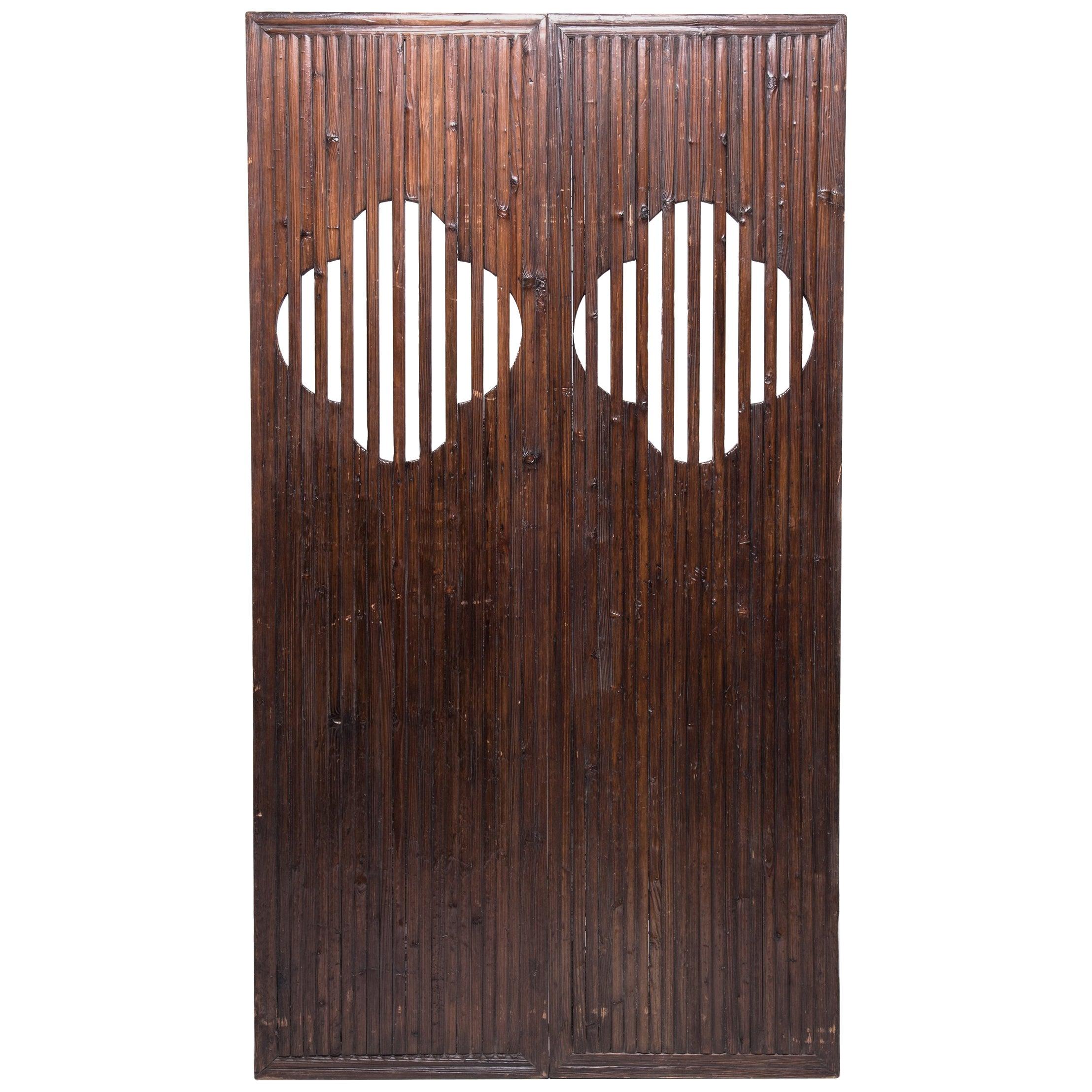 Pair of 19th Century Chinese Quatrefoil Doors