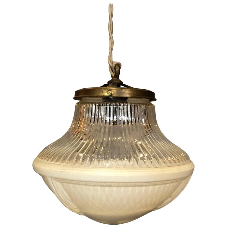 Industrial Frosted Holophane Glass Pharmacy Pendant Light