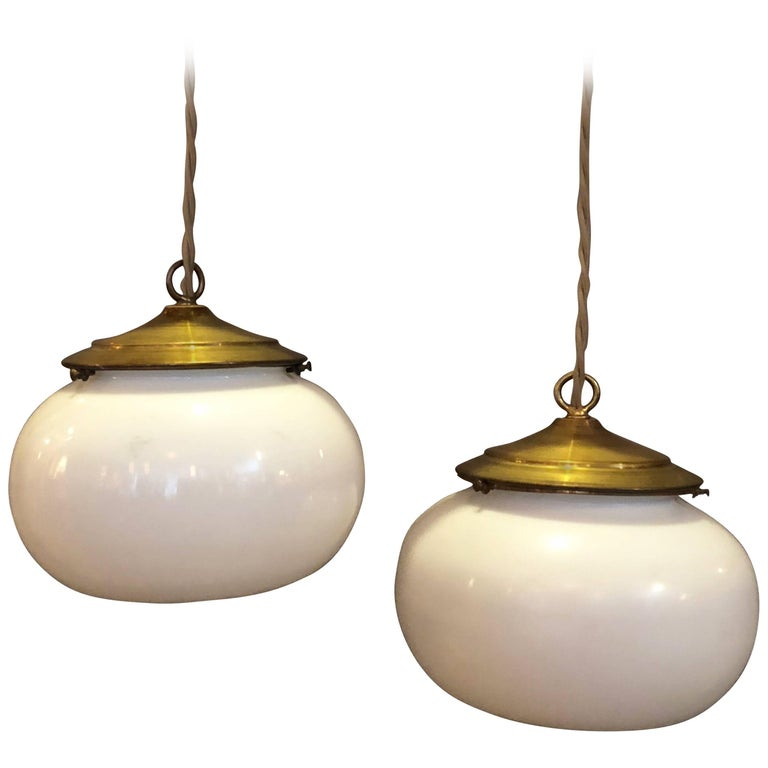 Pair of Antique Milk Glass Open Orb Brass Pendant Lights
