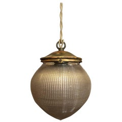 Industrial Prismatic Holophane Glass Acorn Pendant Light