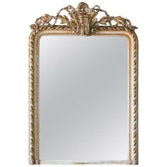 Antique Louis Phillipe Mirror with Elaborate Crest