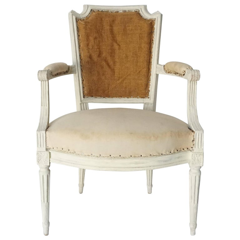 Louis XVI Fauteuil or Armchair in Original Paint, Stamped, France, circa 1780