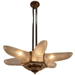 French Star Shaped Art Deco Chandelier