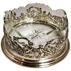 Antique Continental Silver Wine Coaster with Crystal Liner, circa 1900-1910