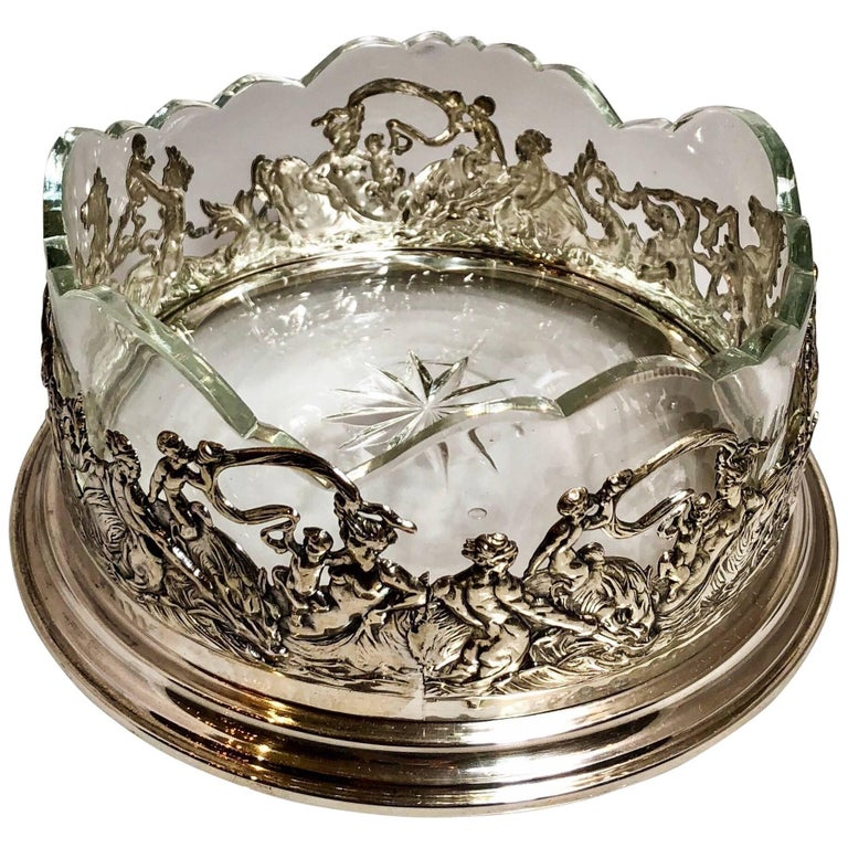 Antique Continental Silver Wine Coaster with Crystal Liner, circa 1900-1910 For Sale