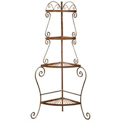 Four-Tier Patinated Iron Corner Shelf on Curved Feet