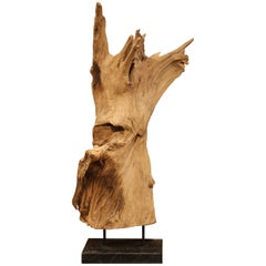Large Antique Driftwood Sculpture on Green Marble Base