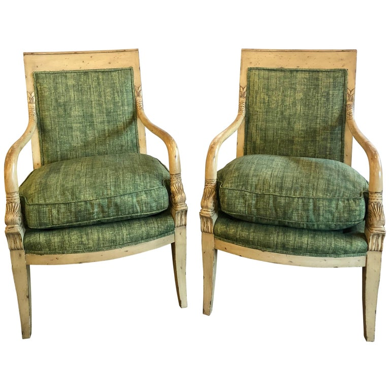 Pair of Neoclassical Style Carved Dolphin Head Distressed Bergeres or Armchairs