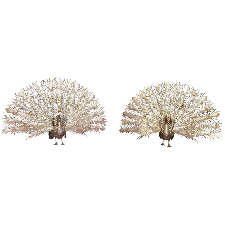 Pair of Antique English Sterling Silver Peacocks, circa 1920-1930