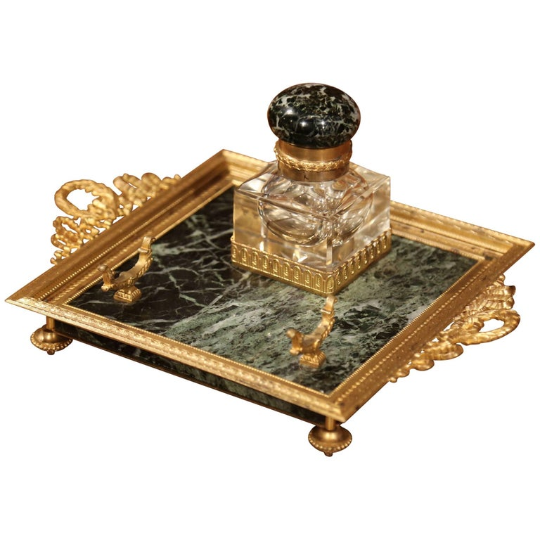 19th Century French Louis XVI Brass and Green Marble Inkwell