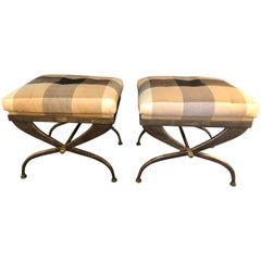 Pair of Maison Jansen Footstools or Benches X-Design Steel and Bronze-Mounted
