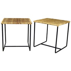 Pair of Calif-Asia Style Wrought Iron and Rattan Side Tables Mid-Century Modern