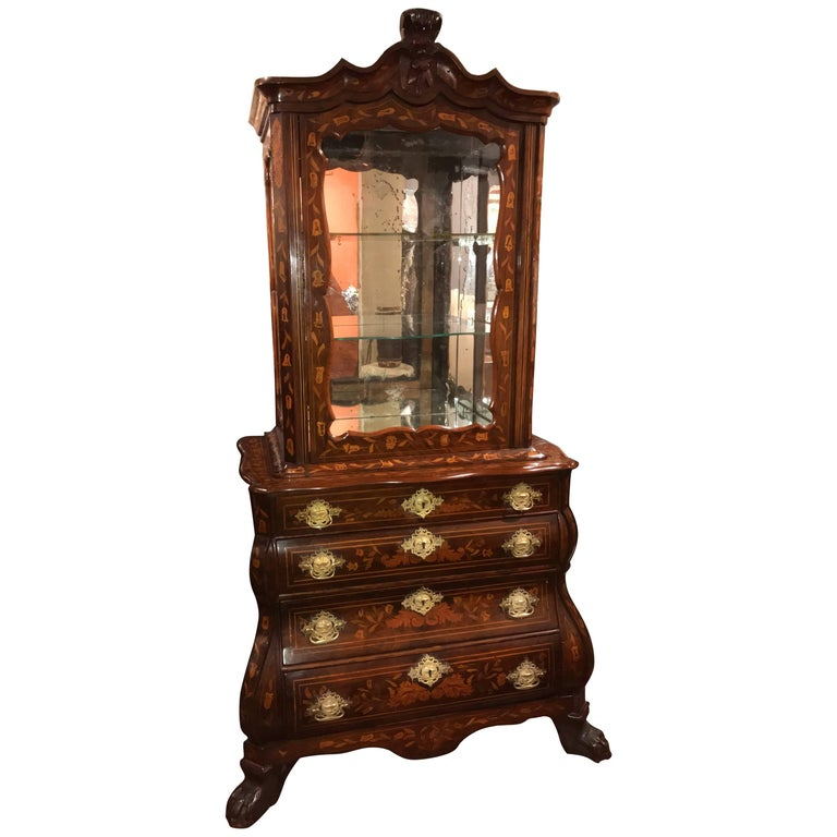 19th Century Dutch Walnut Bombe Mirrored Display Cabinet with Foliate Marquetry