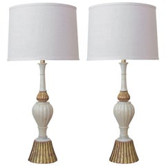 Shapely Pair of Italian Baluster-Form Carrara Marble Lamps with Giltwood Mounts