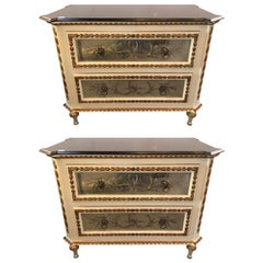 Pair of Painted Parcel-Gilt Etched Mirror Marble Top Commodes by Maison Jansen