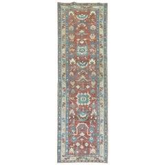 Vintage Persian Heriz Runner in Rustic Tones