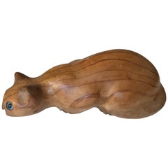 Early 20th Century Quality Carved Cat in Attacking Position with Blue Glass Eyes