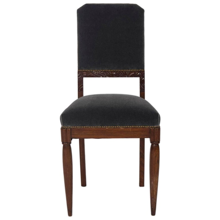 Carved Rosewood Art Deco Side Chair in the Style of Paul Follot