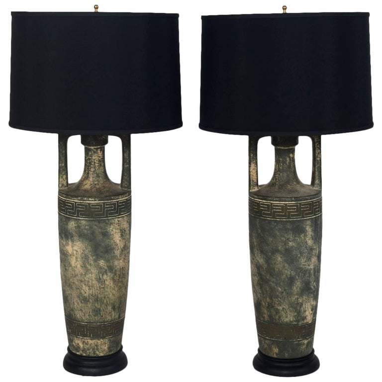 Citrine table lamp with black shades for sale at 1stdibs pair of greek key lamps with black shades aloadofball Image collections
