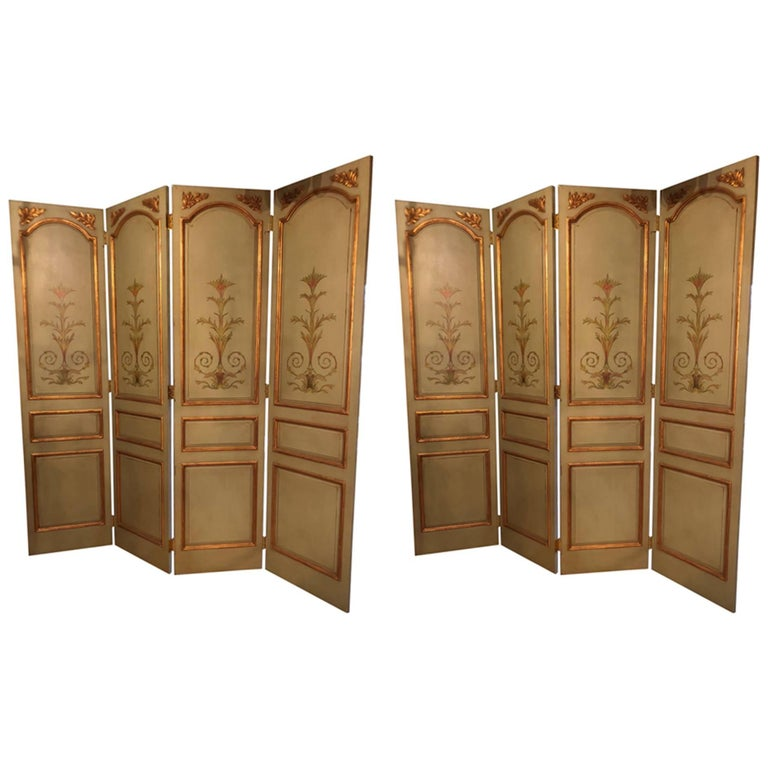 Pair of Italian Paint Decorated & Parcel-Gilt Monumental Screen or Room Dividers