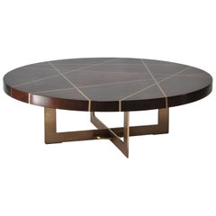 Ray Circular Cocktail Table in Walnut and Bronze