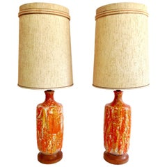 "Mid-Century Modern Pair of Monumental Ceramic ""Fat"" Glaze Lava Lamps & Shades"