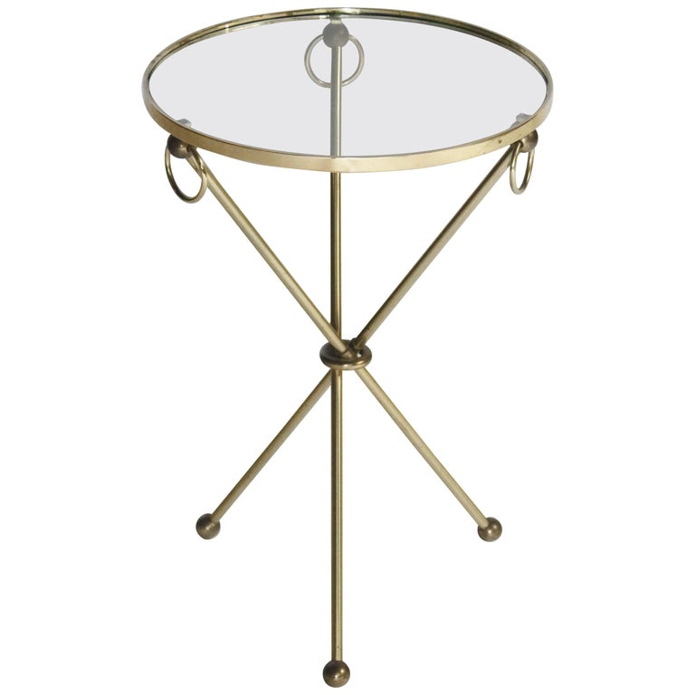 Brass Tripod Table with Loop Handles