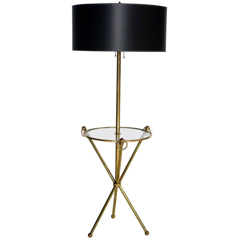 Brass Tripod Floor Lamp with Custom Shade