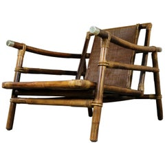 Ficks Reed Rattan Lounge Club Chair by John Wisner Campaign Style Far East Coll.