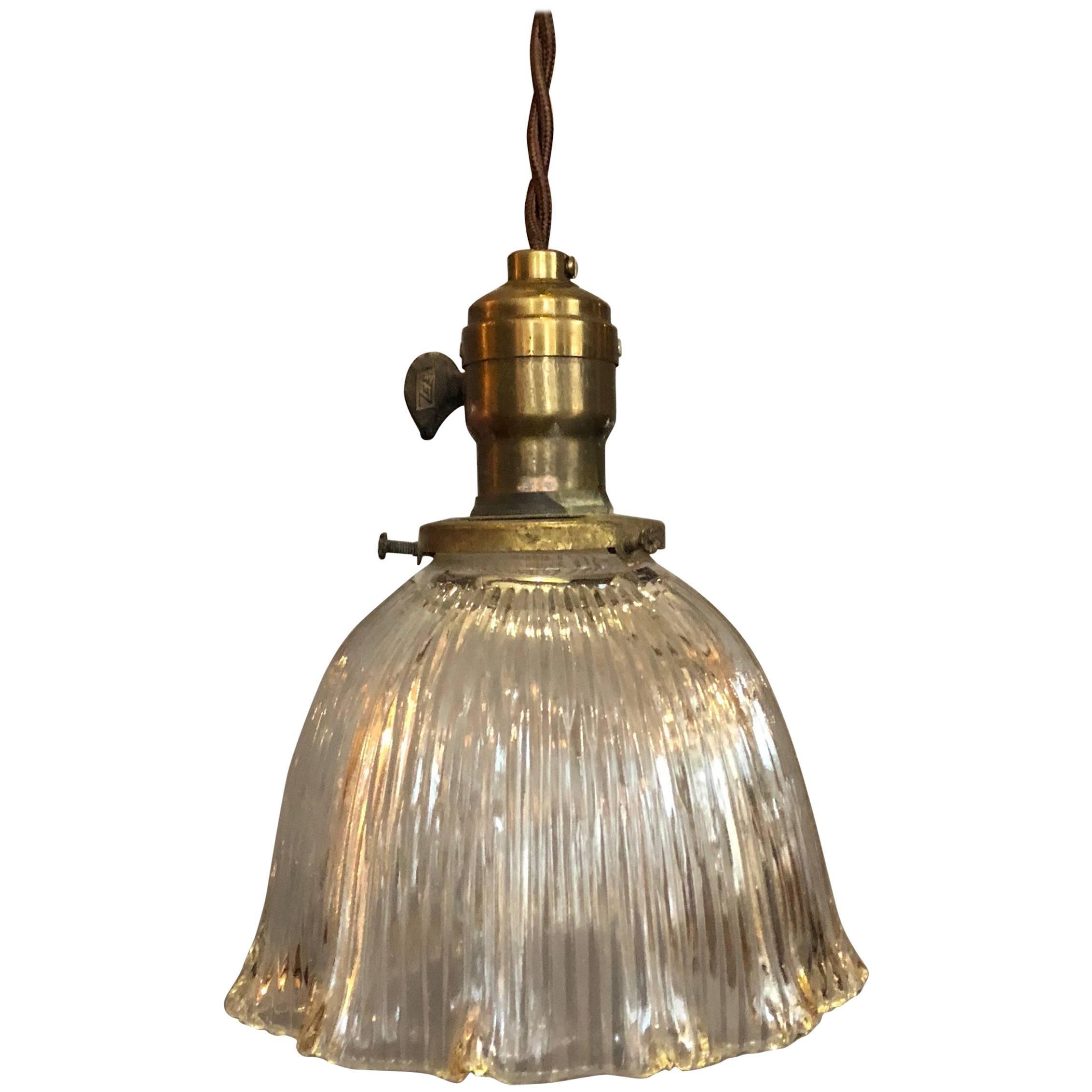 Industrial Scalloped Prismatic Holophane Bell Pendant Light
