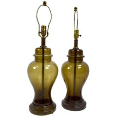 Pair of Smoked Glass Jar Form Table Lamps