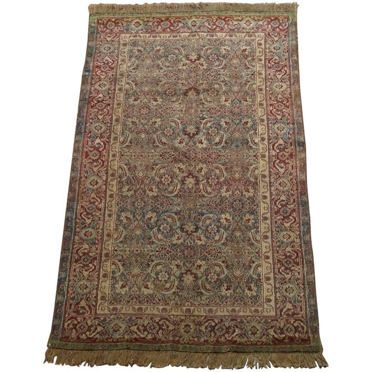Antique Cotton Agra Rug With Abrash Circa 1900 For Sale: Green Antique Agra, Circa 1900 For Sale At 1stdibs