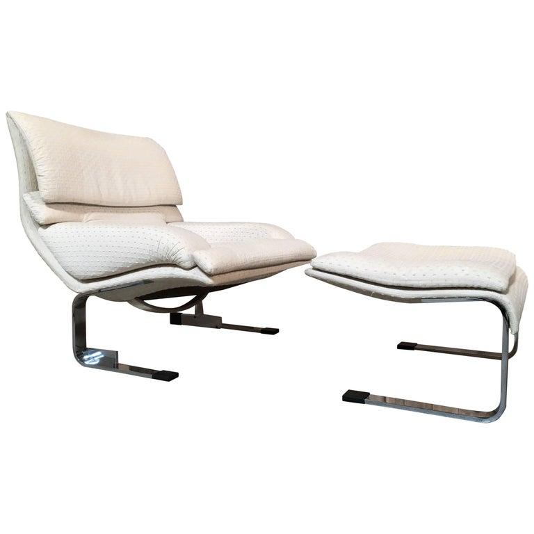 Onda Lounge Chair and Ottoman by Giovanni Offredi for Saporiti Italia