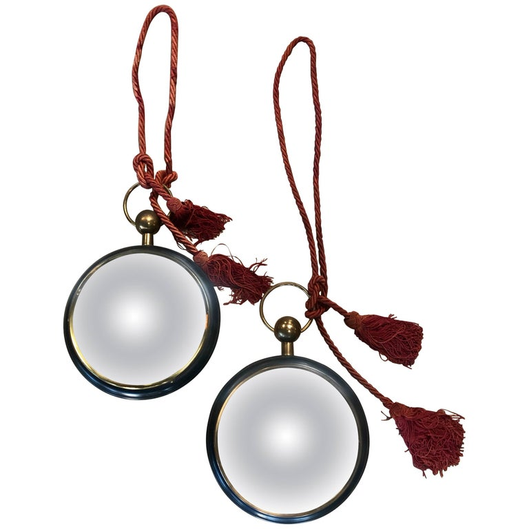 Pair of Old Italian Convex Mirrors For Sale