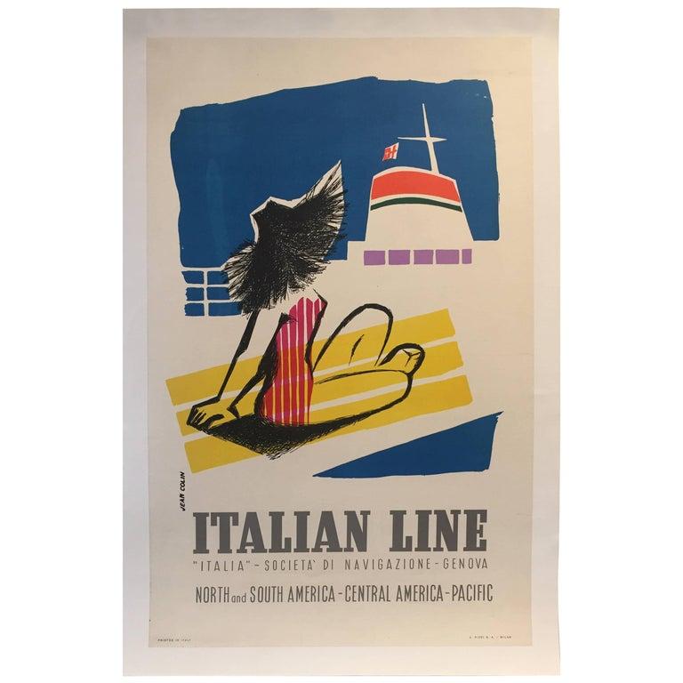 Original Vintage Poster, Travel Italy, Jean Colin Italian Line