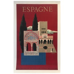 Original Vintage French Poster, Spain Travel, Espagne by Villemot