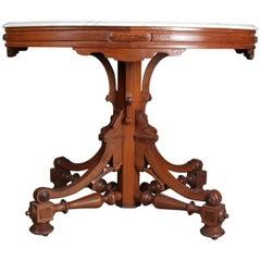 Antique Victorian Eastlake Carved Walnut & Marble Pedestal Parlor Table