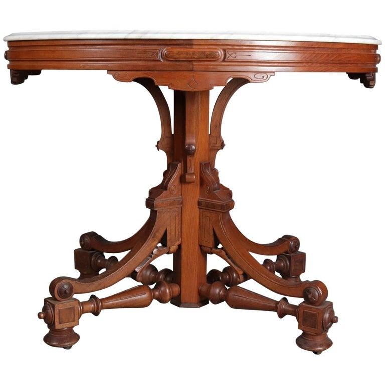 Antique Victorian Eastlake Carved Walnut & Marble Pedestal Parlor Table For  Sale - Antique Victorian Eastlake Carved Walnut And Marble Pedestal Parlor