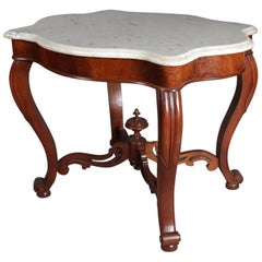 Antique Victorian Carved Walnut & Marble Turtle Back Parlor Table, 19th Century