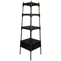 Vintage Chinoiserie Ebonized Gilt Graduated Four-Tier Display Stand