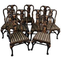 Set of Nine Chinoiserie Carved Ebonized and Gilt Dining Chairs, 20th Century