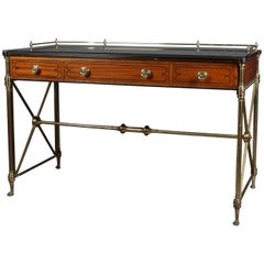 Neoclassical Kittinger Satinwood, Brass and Glass Writing Desk, 20th Century