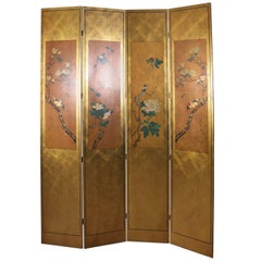 Vintage Japanese Hand-Painted Giltwood Four-Panel Privacy Screen