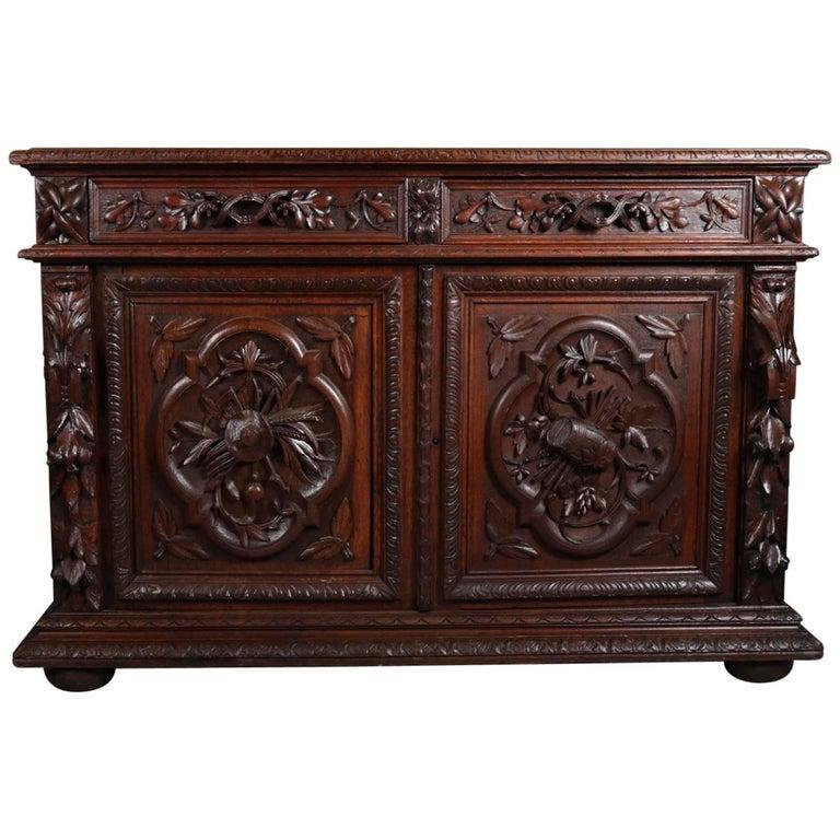 Renaissance Revival Deeply Carved Oak Sideboard, 19th Century